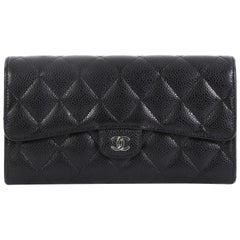 9e9c562889f06d Chanel CC Gusset Classic Flap Wallet Quilted Caviar Long