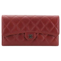 Chanel CC Gusset Classic Flap Wallet Quilted Caviar Long