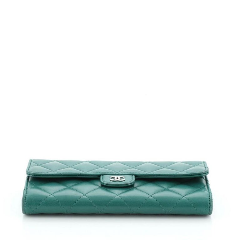 Chanel CC Gusset Classic Flap Wallet Quilted Lambskin Long For Sale 1