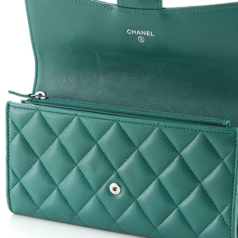Chanel CC Gusset Classic Flap Wallet Quilted Lambskin Long For Sale 4
