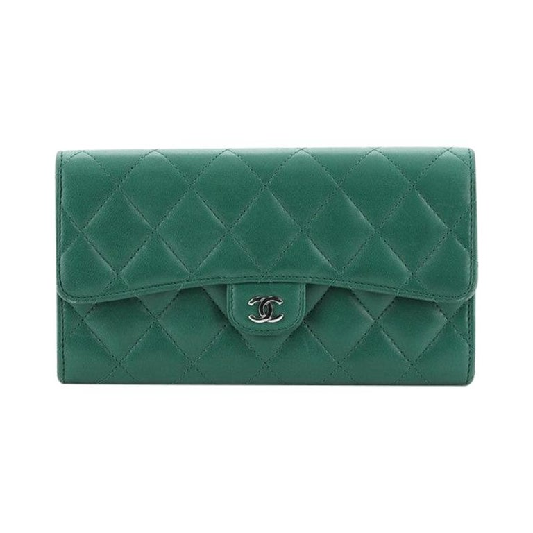 Chanel CC Gusset Classic Flap Wallet Quilted Lambskin Long For Sale