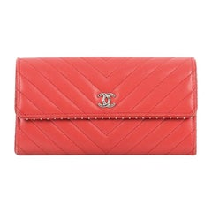 Chanel CC Gusset Flap Wallet Chevron Lambskin with Studded Detail Long