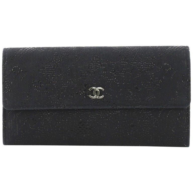 b166a3a0daf4 Chanel CC Gusset Flap Wallet Lace Leather Long For Sale at 1stdibs