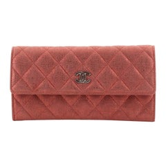 Chanel CC Gusset Flap Wallet Quilted Metallic Suede Long