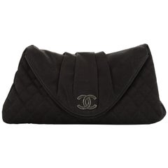 Chanel CC Half Moon Clutch Quilted Satin Large