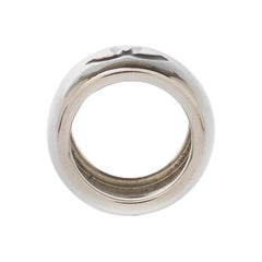 Chanel CC Heart Black Resin Silver Tone Wide Band Ring Size 55