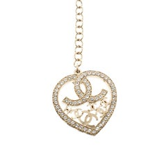 Chanel CC Heart Faux Pearl & Crystal Gold Tone Necklace