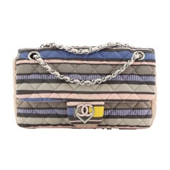 Chanel CC Heart Flap Bag Quilted Printed Jersey Medium