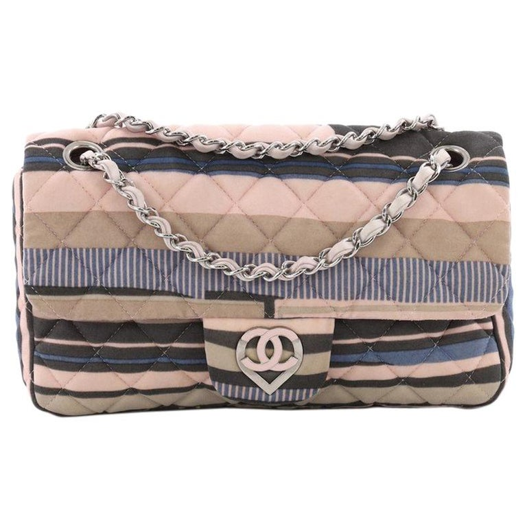 6e01488d580c Chanel CC Heart Flap Bag Quilted Printed Jersey Medium For Sale at ...