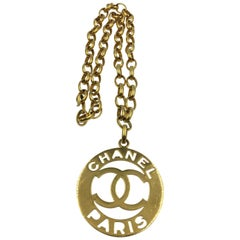 Chanel CC Iconic Statement Large Medallion Necklace Gold Tone