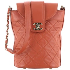 Chanel CC Lock Flap Bucket Bag Quilted Lambskin Small
