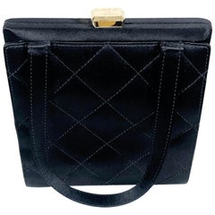"Chanel ""CC"" Logo Black Silk Peau de Soie Quilted Satin Purse"