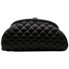 Chanel 'CC' logo clasp Quilted Satin Clutch Bag
