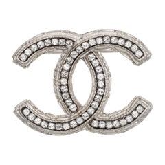 Chanel CC Logo Crystal Brooch c2011 White Metal Tone