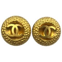Chanel CC Logo Earrings Oversized Clip On Gold Tone