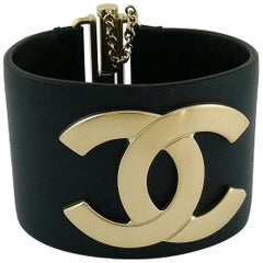 Chanel CC Logo Exclusive Edition Wide Leather Cuff Bracelet