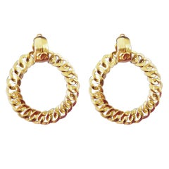 Chanel CC Logo Large Hoop Earrings Clip Style 1996 with Box