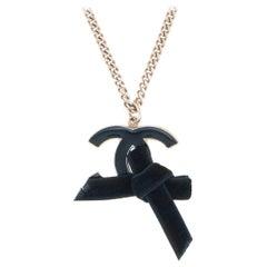 Chanel CC Logo Necklace Black Velvet Bow Circa 2007 Cruise