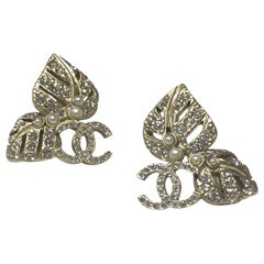Chanel CC Logo Pale Gold-toned And Rhinestones Earrings