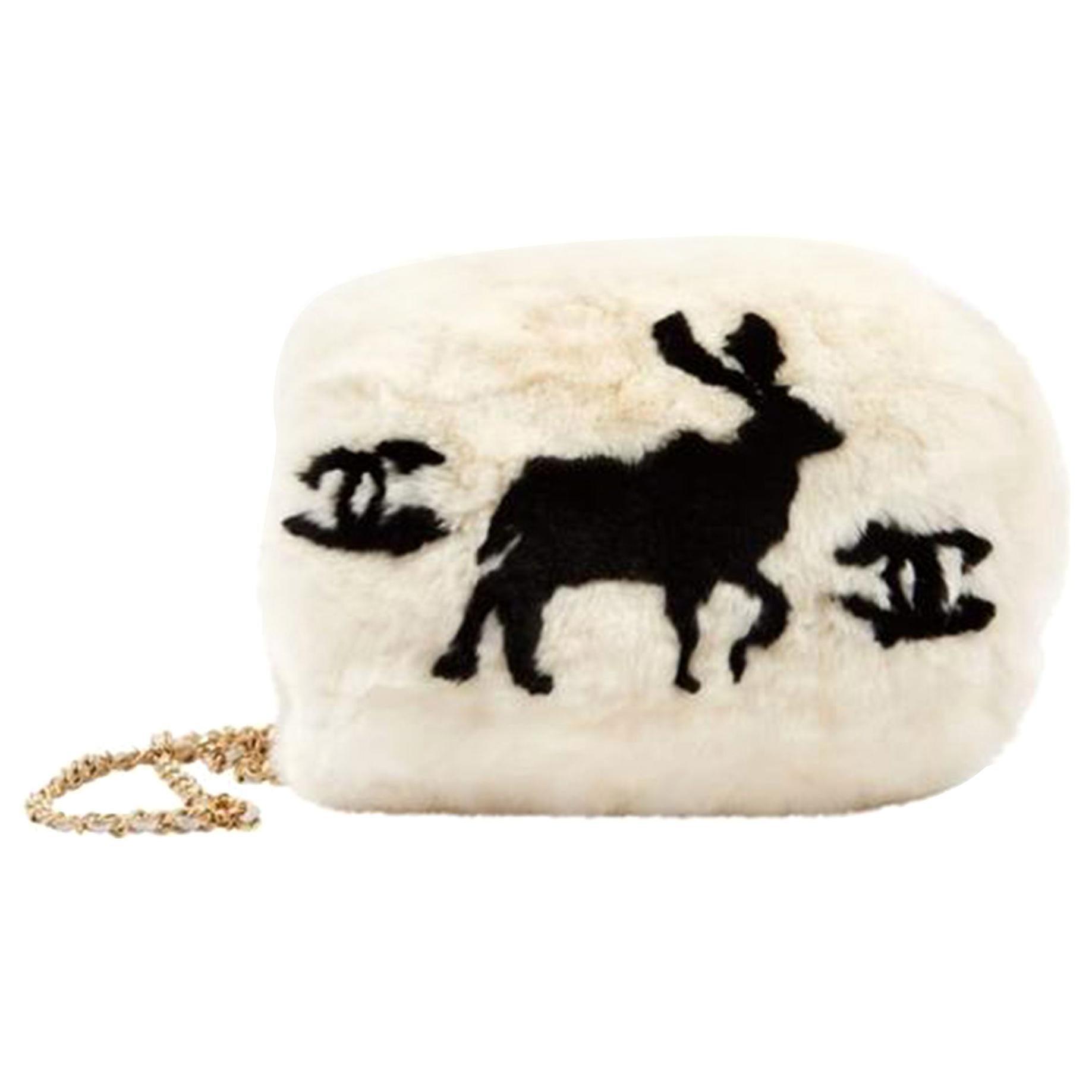 Chanel Cc Logo Reindeer Muff Vintage Rare Limited Edition White Fur Satchel