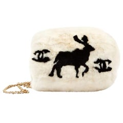 Chanel Cc Logo Reindeer Muff Vintage Rare Limited Edition White Fur Satchel