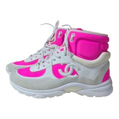 Chanel CC  Logo White Pink Trainers Sneakers High top