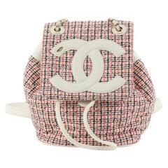 Chanel CC Mania Backpack Tweed with Lambskin Small