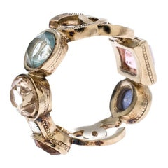 Chanel CC Multi-color Crystal Gold Tone Band Ring Size 52