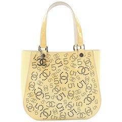 Chanel CC No.5 Shopping Tote Perforated Patent Medium