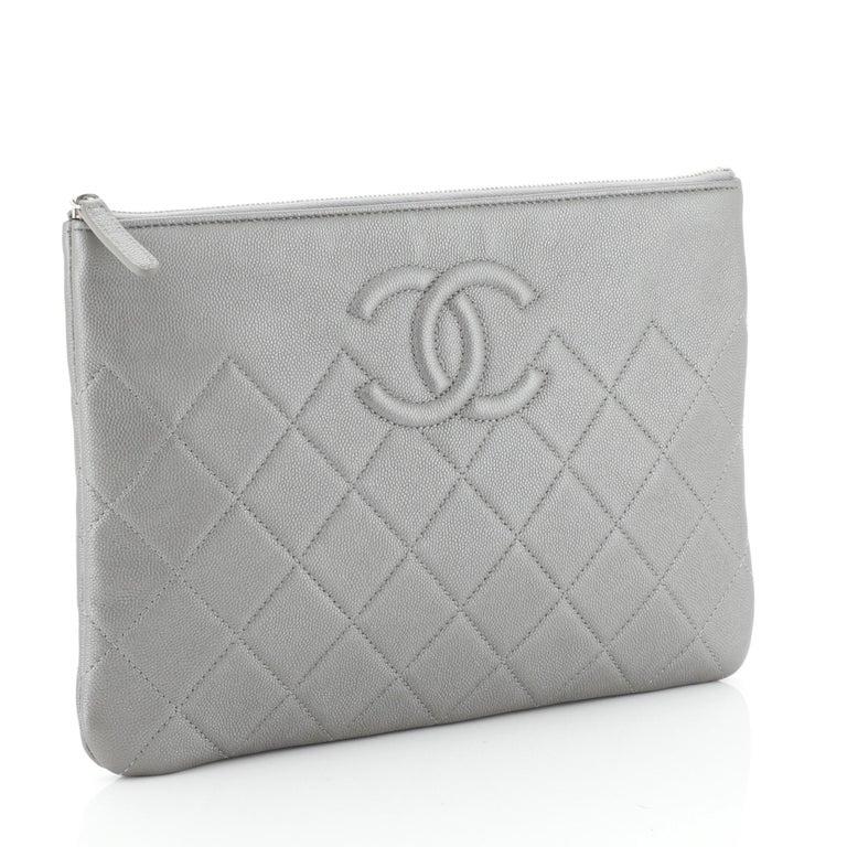 Gray Chanel CC O Case Clutch Quilted Caviar Medium