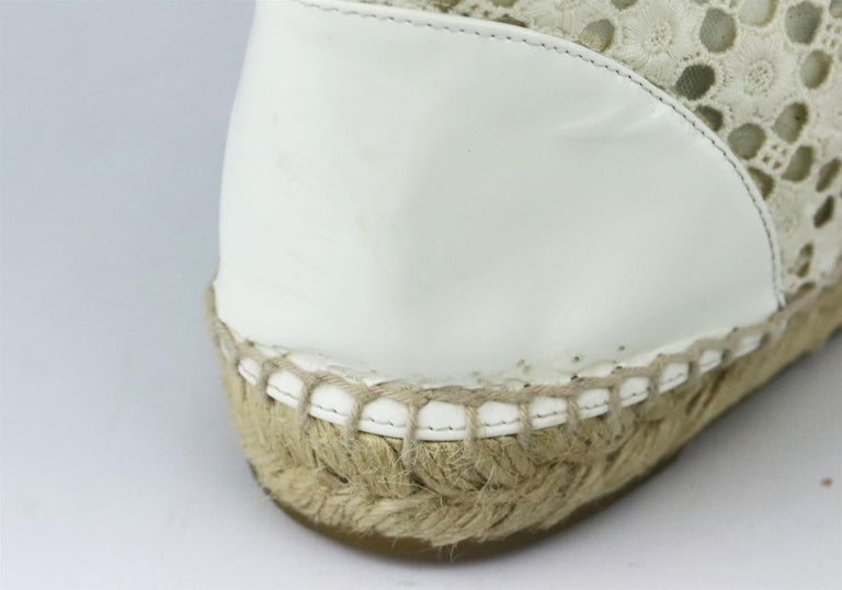 Chanel CC Patent Leather Trimmed Crochet Espadrilles For Sale 1