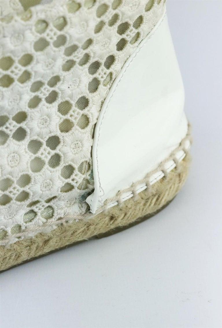 Chanel CC Patent Leather Trimmed Crochet Espadrilles For Sale 2