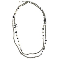 Chanel CC Pearl And Black Pearls Long Necklace