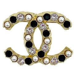 Chanel CC Pearl and Rhinestones Brooch