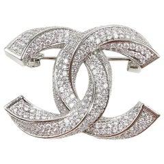 Chanel CC Pendant Brooch Silver Tone Rhinestone