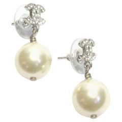 CHANEL CC Pendant Stud Earrings