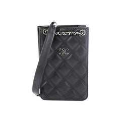Chanel CC Phone Holder Crossbody Bag Quilted Lambskin