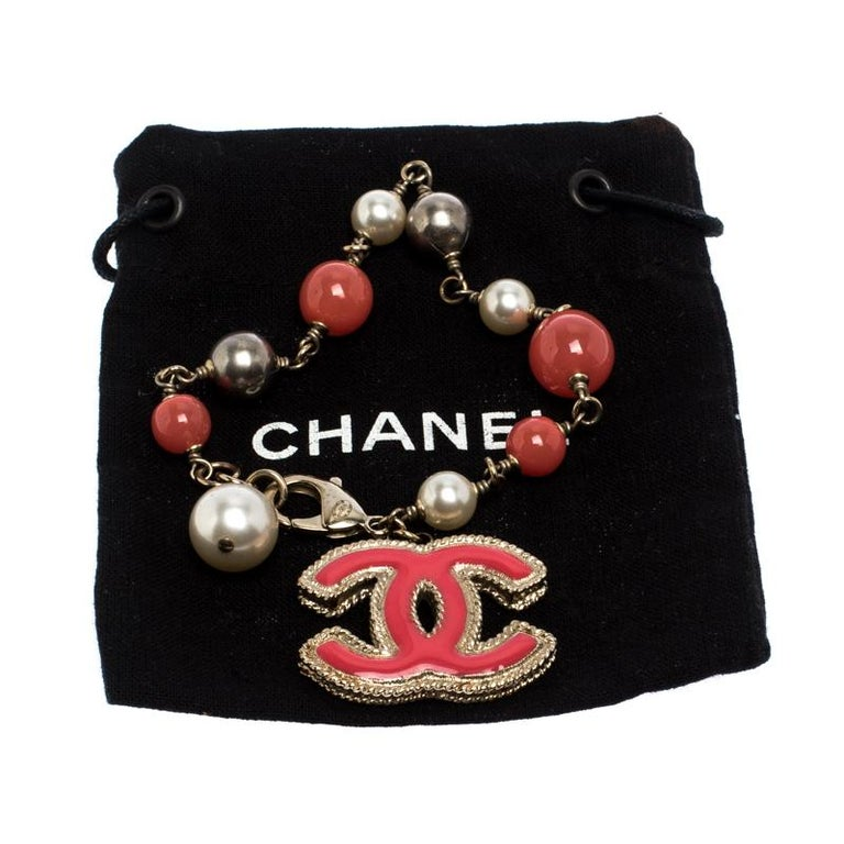 Chanel CC Pink Enamel Faux Pearl Bead Gold Tone Charm Bracelet For Sale 1