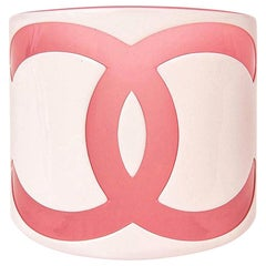 Chanel CC Pink and White Plastic Wide Cuff Bracelet