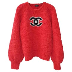 Chanel CC Red Teddy Sweater