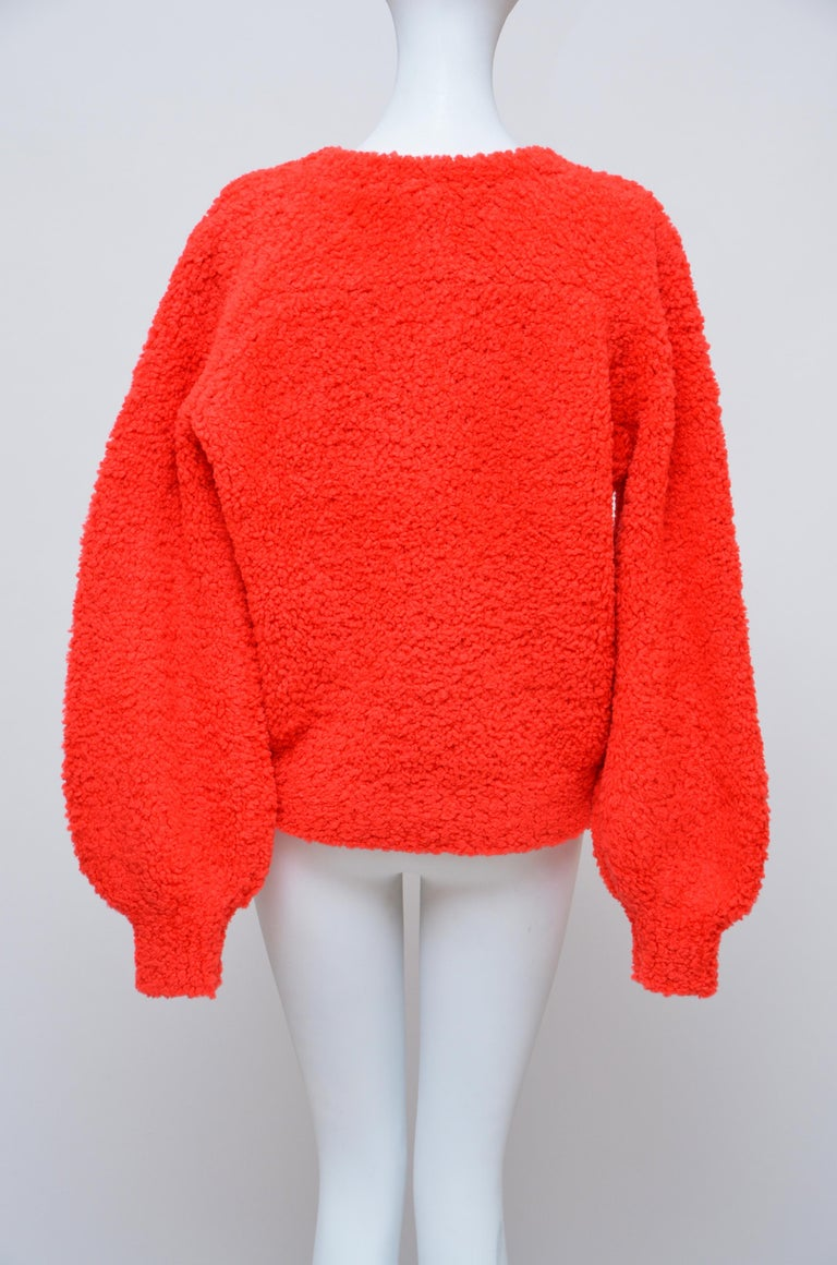 Women's CHANEL CC Red Teddy Sweater   NEW   Size 40FR
