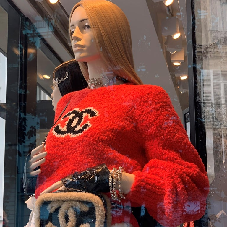 100% authentic guaranteed Chanel teddy sweater in red tone  Due to flashlight color tone might vary in person. New with tags.Receipt available to purchaser upon request Size 40FR.Please familiarize yourself with Chanel sizing before purchase   FINAL
