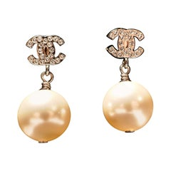 Chanel CC Rhinestone Crystal Earrings with Large Pearl Pendant Drop