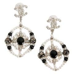 Chanel CC Rhinestones Imitation Pearls Pendant Earrings