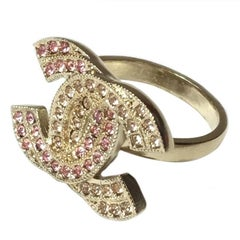 CHANEL CC Ring in Gilded Metal set with Rhinestones Size 52FR