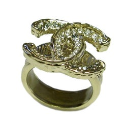 CHANEL CC Ring in Gilded Metal set with Rhinestones Size 54FR