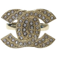 CHANEL CC Ring in Gilt Metal set with Swarovski Rhinestones Size 52