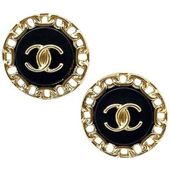 CHANEL CC Round Stud Earrings