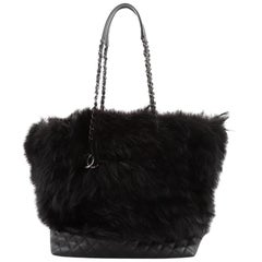 Chanel CC Shopping Tote Fox Fur with Quilted Caviar Large
