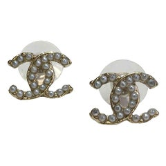 "CHANEL ""CC"" Stud Earrings"